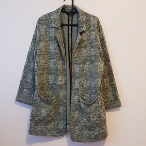 Check print bottomless drape jacket Plus size 14